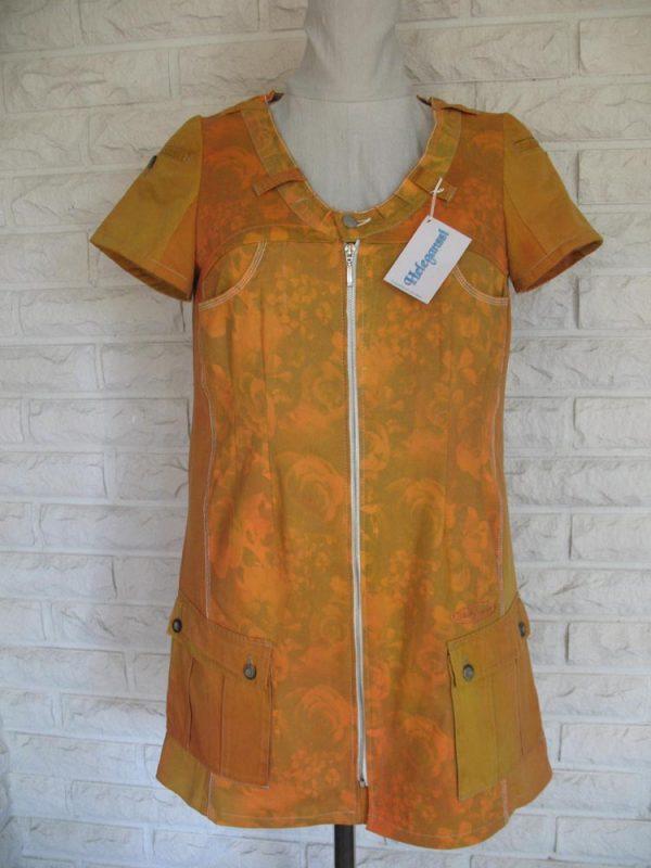 Heleganssi-naisten mekkö ja tunika-kelta-oranssi-mekko-etu-e1554990604969